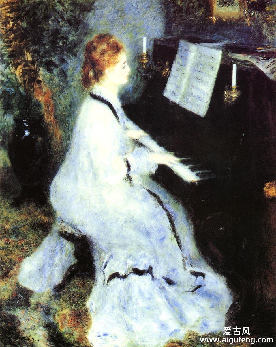 弹钢琴的年轻女子-皮耶尔-奥古斯特·雷诺阿